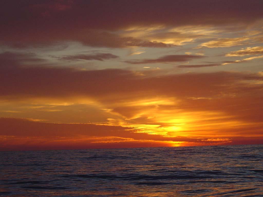 Sunset aboard Windana
